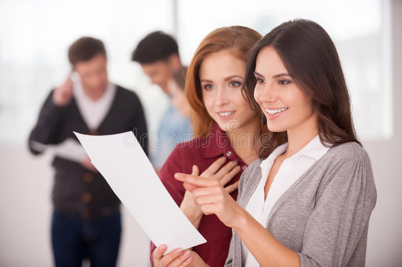 Discussing a good condition contract. royalty free stock photo