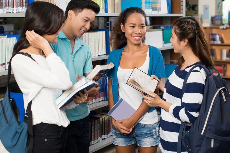 Discussing homework stock photo