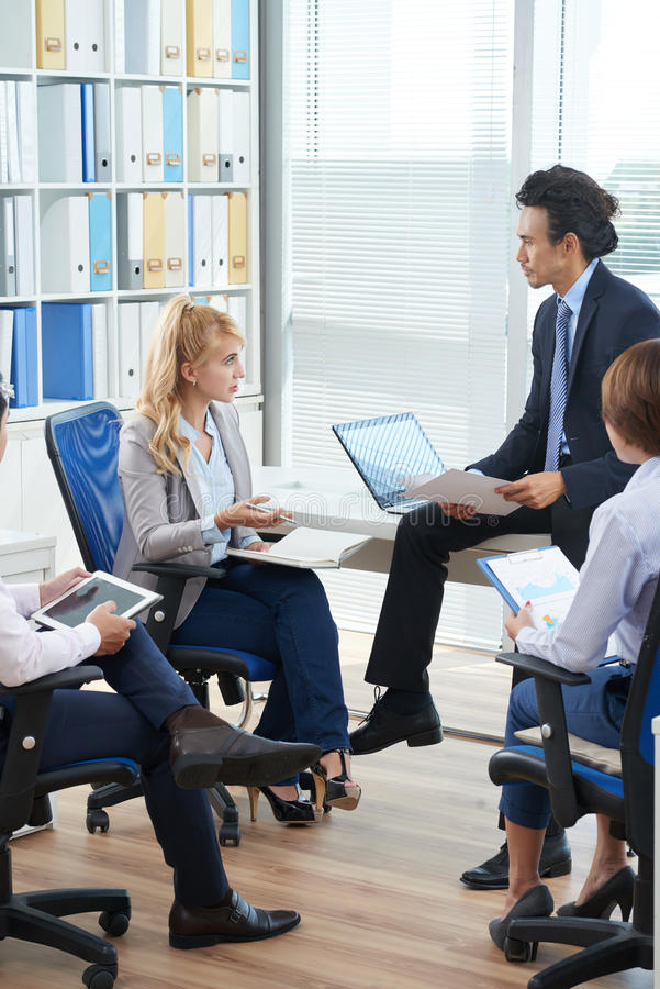 Discussing problems stock images