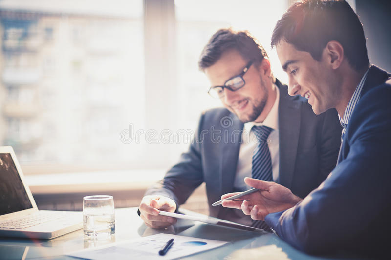 Discussing project royalty free stock image