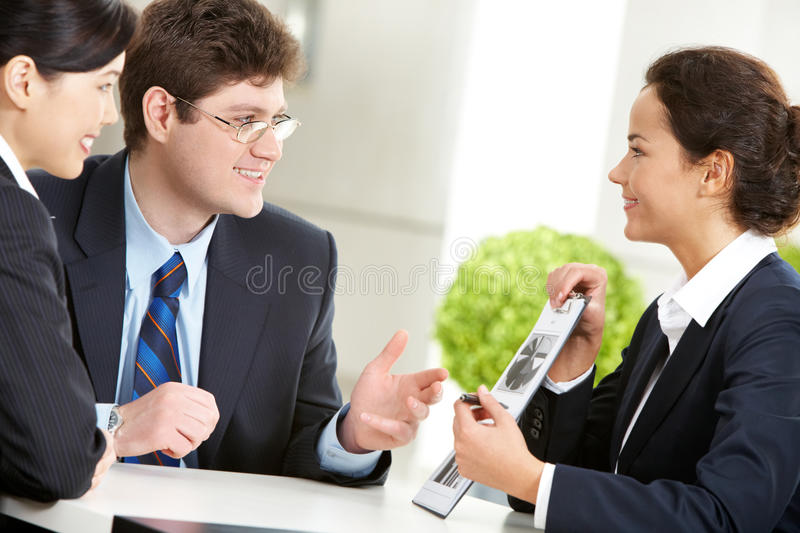 Discussing work royalty free stock photo