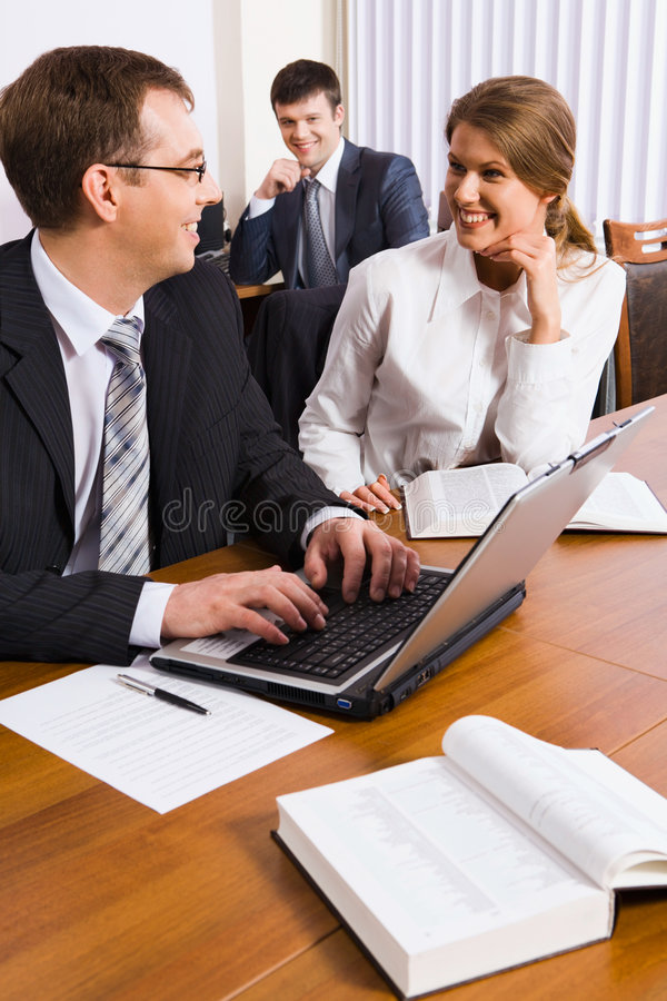 Discussing work royalty free stock photos
