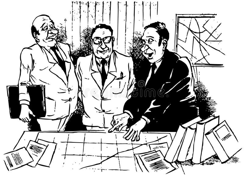 Discussion. The managers discuss a business situation and they looks into the diagram lying on the desk stock illustration