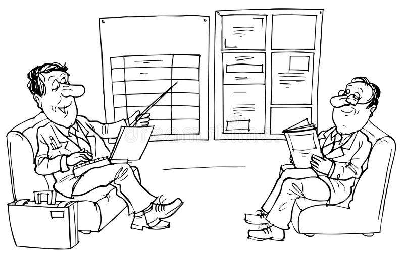 Discussion about bargain. Black and white illustration: managers discuss a bargain vector illustration