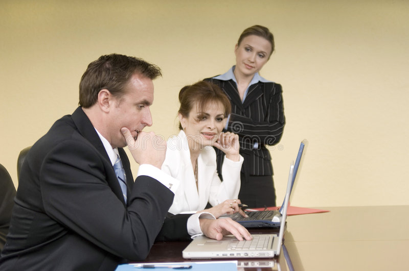 Discussion in the boardroom stock photography