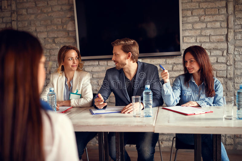 Discussion business people for job interview with candidate stock images