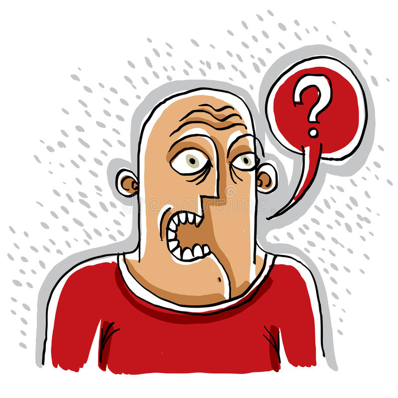 Discussion concept, conversation idea. Illustration of a man talking. Question mark with a speech bubble. vector illustration