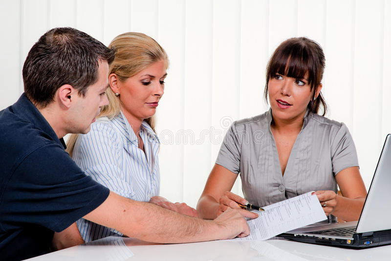 Discussion at a consultation. Husband and wife in a consultation stock photos