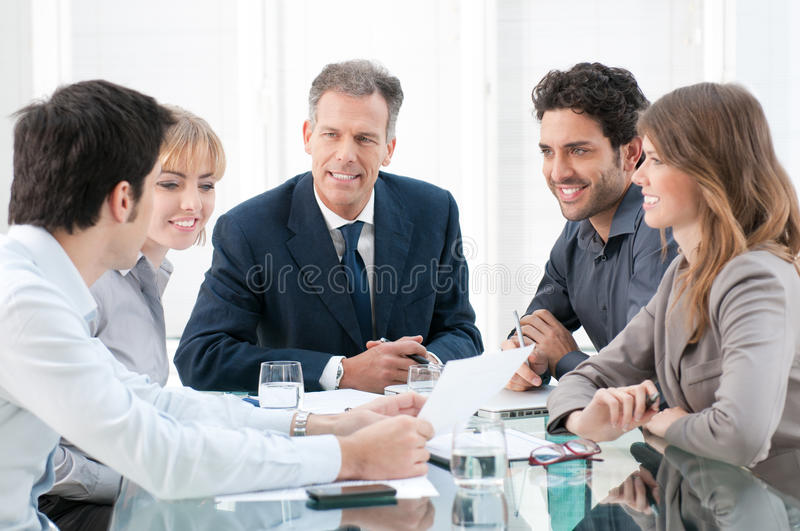 Discussion and cooperation royalty free stock photos