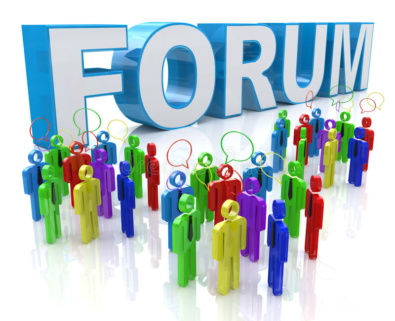 Discussion de groupe de forum illustration stock