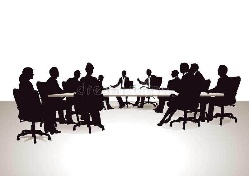 Discussion group. Illustration of smartly dressed people attending a course or at a board meeting shown in silhouette and sitting around a table, bright vector illustration
