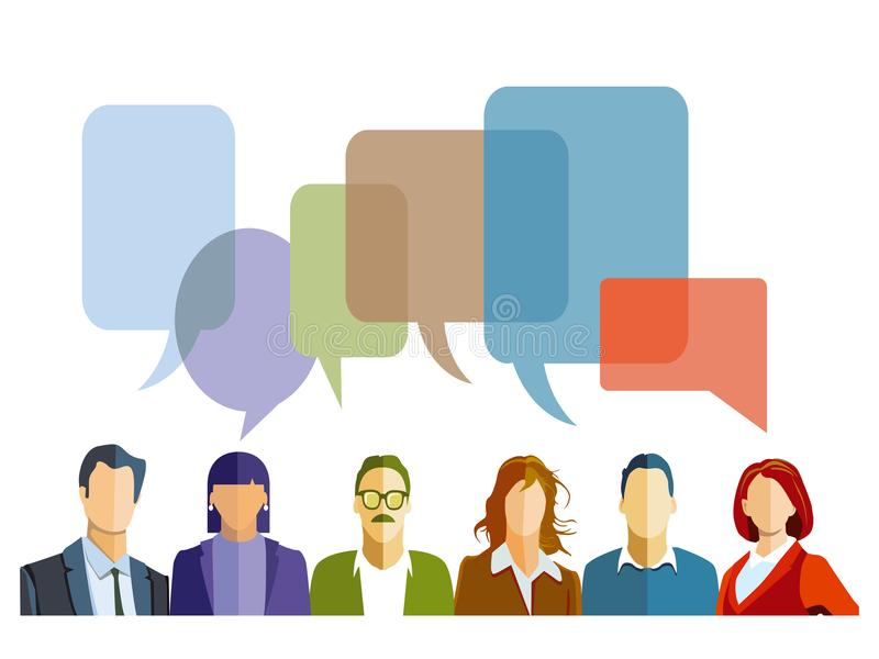 Discussion in the group. With speech bubbles vector illustration