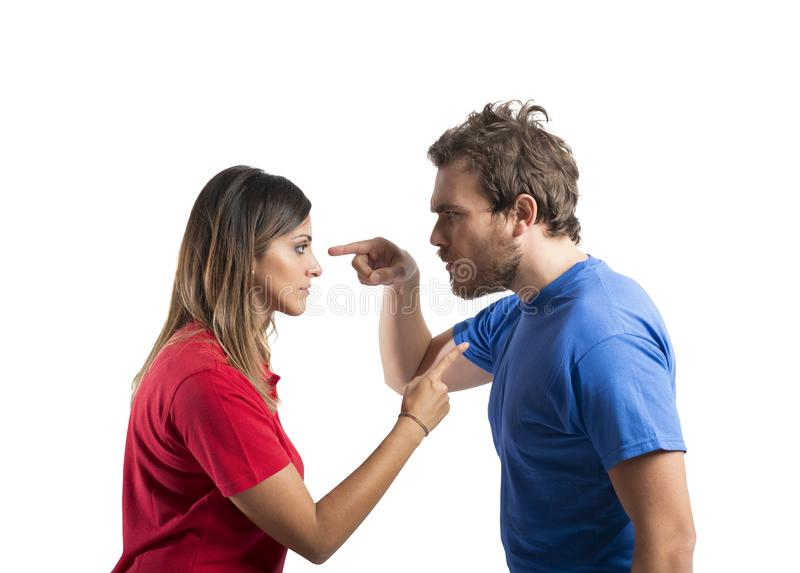 Discussion between husband and wife stock photos