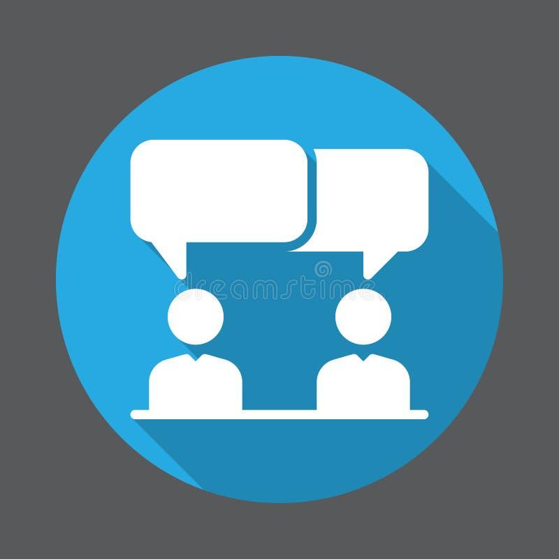 Discussion, icône plate de conflit Bouton coloré rond, signe circulaire de vecteur avec le long effet d'ombre illustration de vecteur