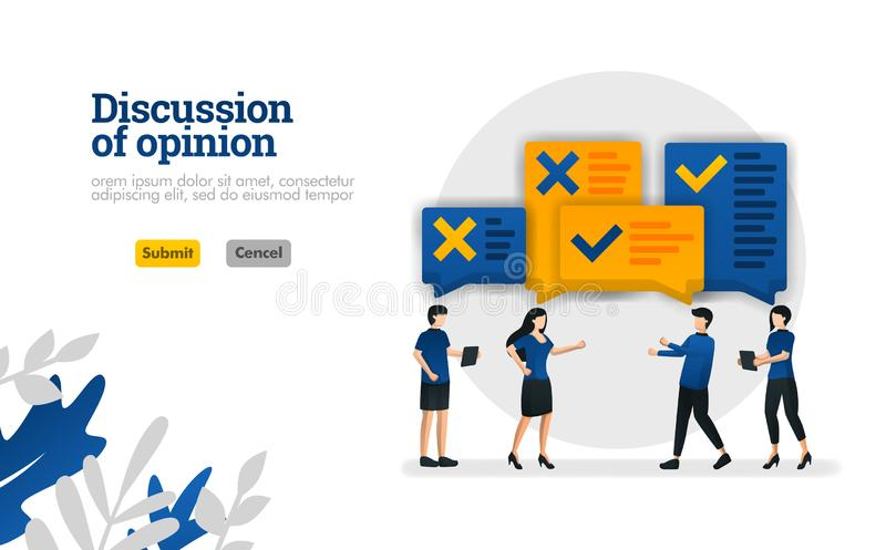 Discussion of opinion. with illustrations of people who were debating vector illustration concept can be use for, landing page, te stock illustration