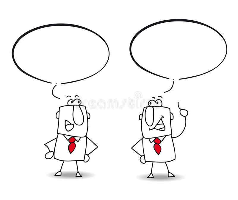 Discussion. Two businessmen are speaking together. Write the speech in the bubble vector illustration