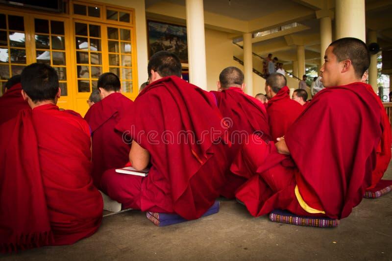 Discussione dei monaci buddisti, tempio di Dalai Lama, McLeod Ganj, India immagine stock