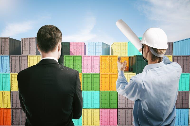 Discussione del lavoratore e dell'uomo d'affari di bacino illustrazione vettoriale