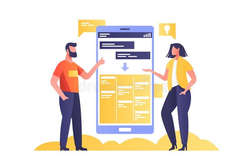 Discussione sul progetto di team con touchscreen phone royalty illustrazione gratis