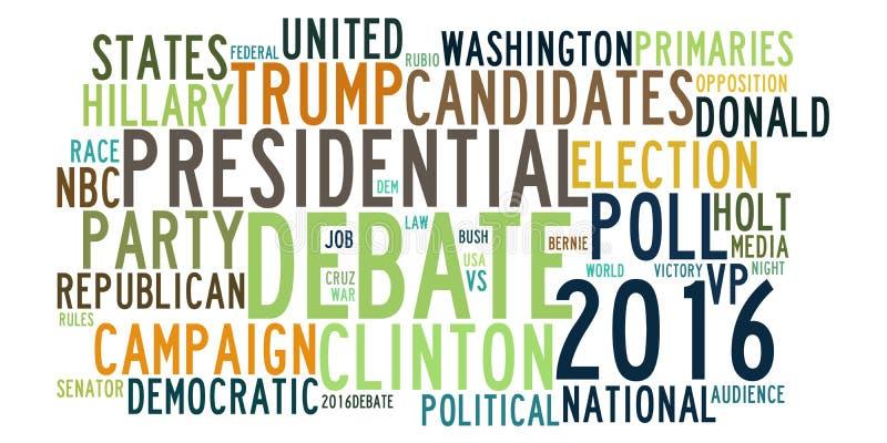 Discussions d'élection présidentielle des Etats-Unis en nuage de tags de mot illustration stock