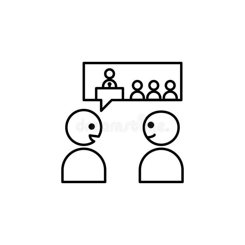 discuta, avveduto, colleghi l'icona Elemento del problema e dell'icona sociali dei rifugiati Linea sottile icona per progettazion illustrazione vettoriale