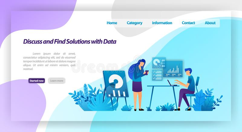 Discuta e encontre soluções aos problemas analisando dados trabalhadores que encontram-se para o diálogo do negócio conceito da i ilustração stock