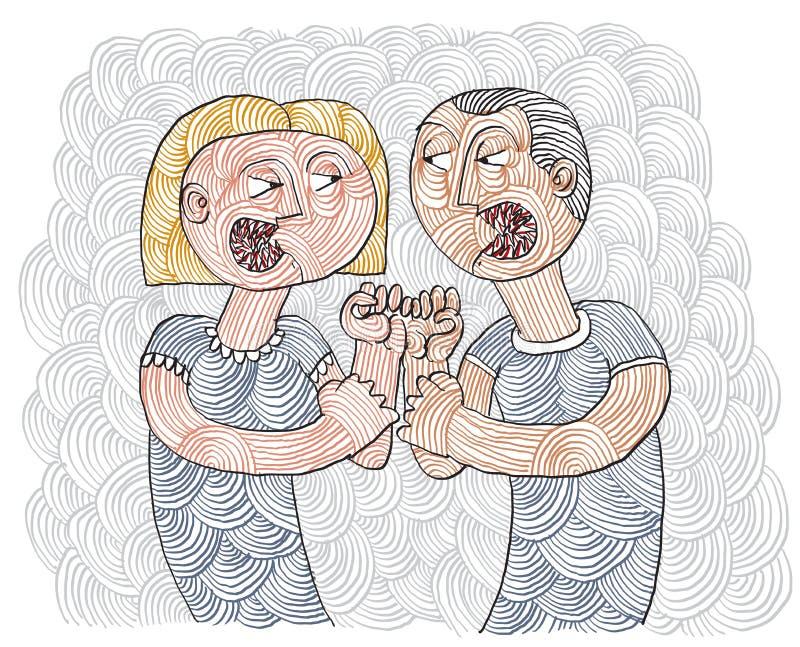 Discuta entre o homem e o illus listrado desenhado à mão conceptual da mulher ilustração stock
