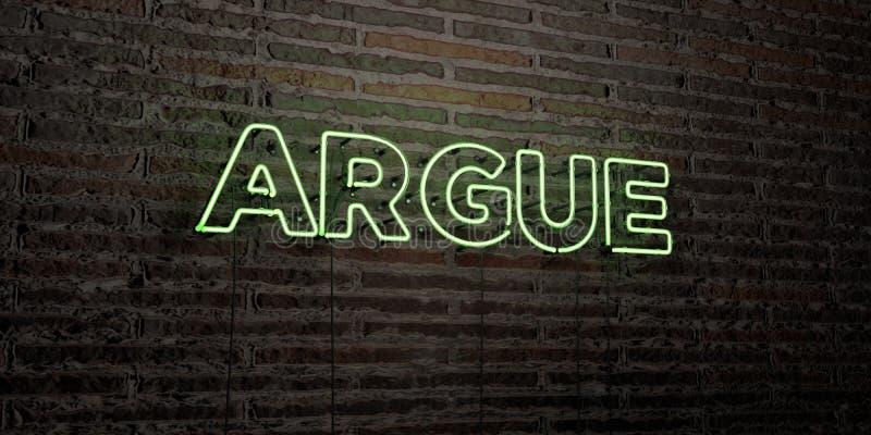 DISCUTA - insegna al neon realistica sul fondo del muro di mattoni - l'immagine di riserva libera della sovranità resa 3D illustrazione di stock