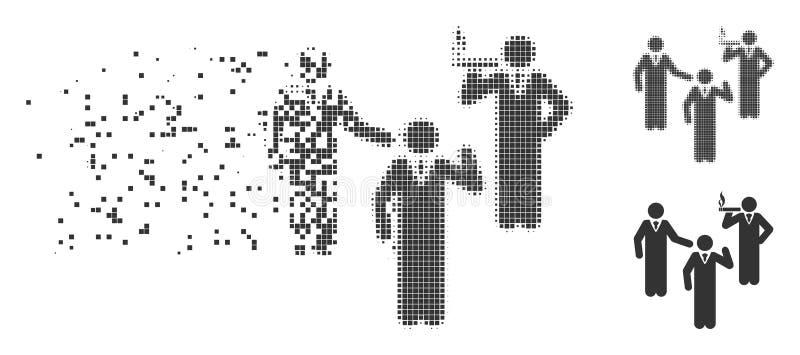 Discuta l'icona del semitono del pixel dissolta persone diritte illustrazione di stock