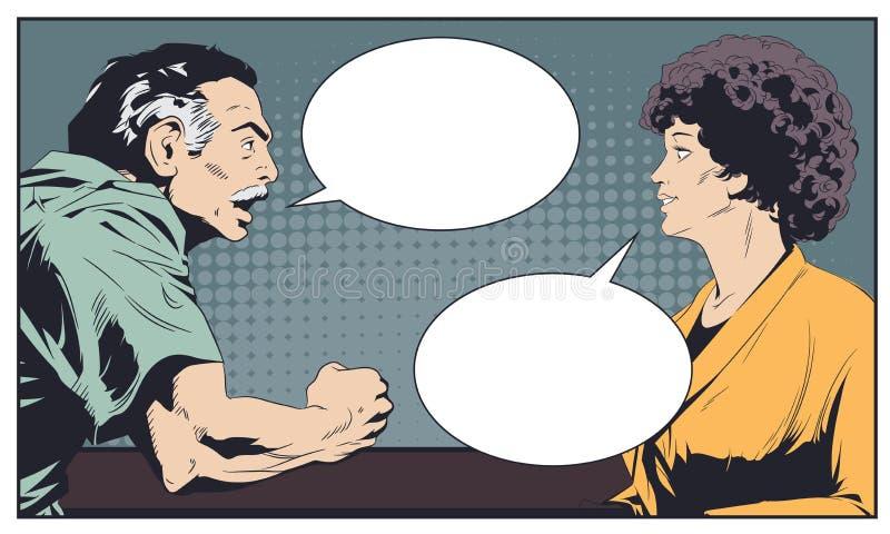 discuta la donna dell'uomo Illustrazione di riserva illustrazione vettoriale