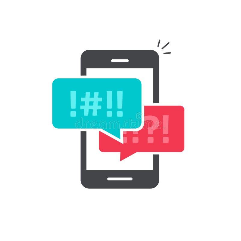 Discuta le bolle di chiacchierata sul vettore dell'icona del telefono cellulare illustrazione di stock