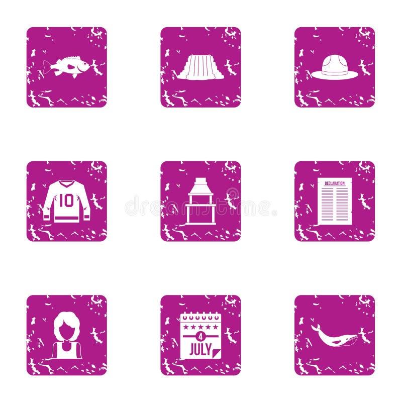 Discuta le icone messe, stile di lerciume illustrazione di stock