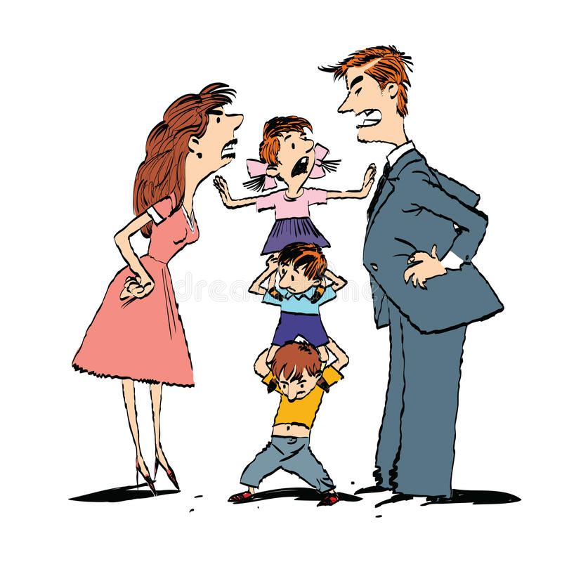 Discuta na família, mamã e a luta do paizinho, crianças acalma-se ilustração do vetor