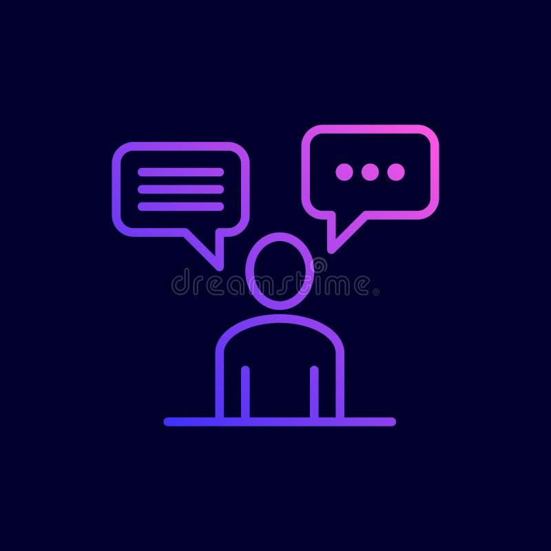 Discuta o ícone social da rede Ilustração do vetor na linha estilo lisa ilustração stock