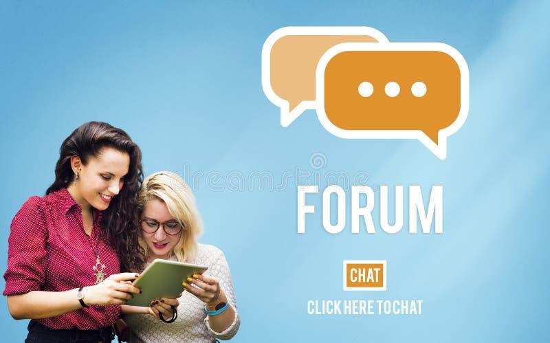 Discuta o conceito do assunto do grupo de chat do fórum fotografia de stock