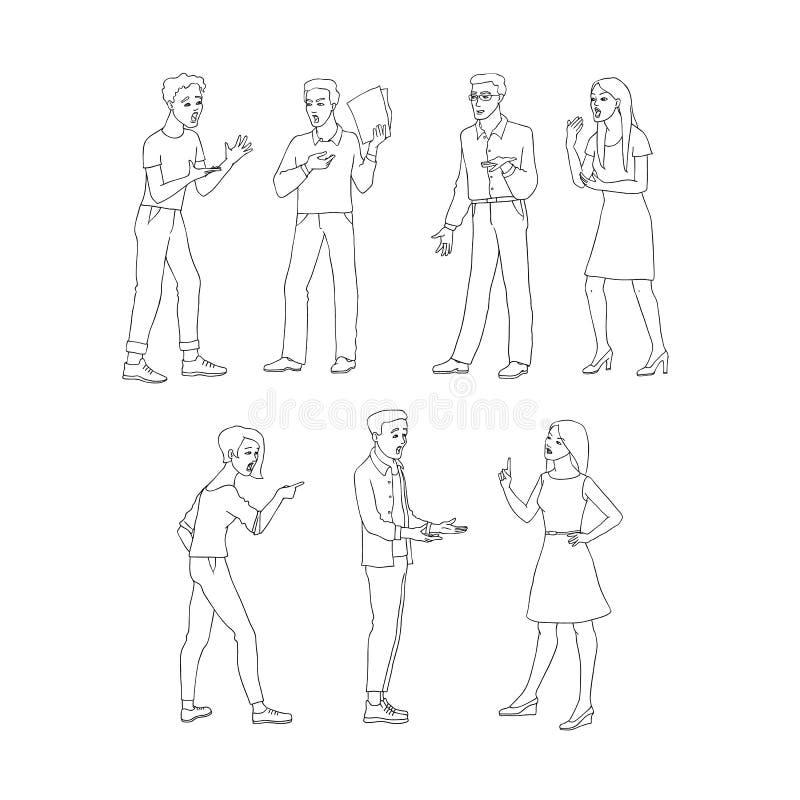 Discuta o grupo da ilustração do vetor com os homens novos e as mulheres agressivos de oposição no estilo do esboço ilustração royalty free