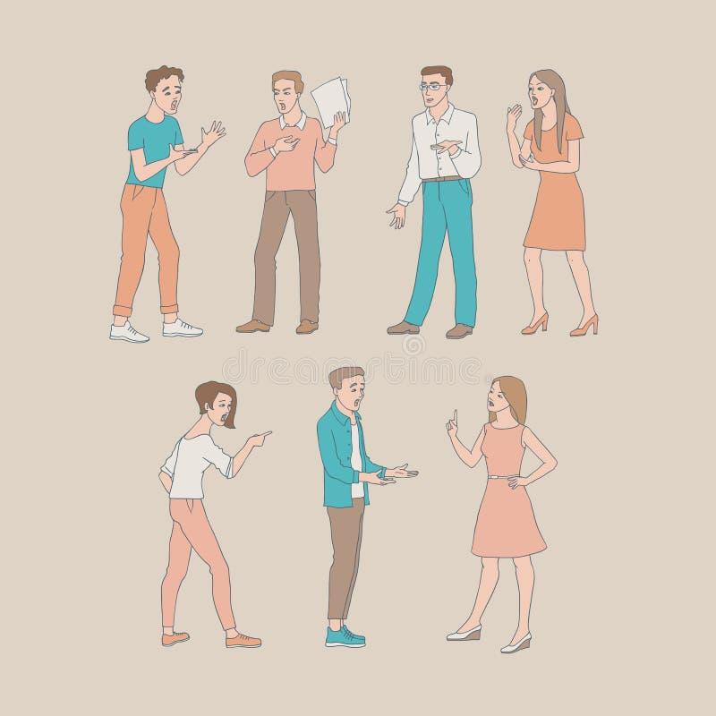 Discutendo l'illustrazione di vettore della gente messa con i giovani e le donne aggressivi stanti in conflitto illustrazione di stock