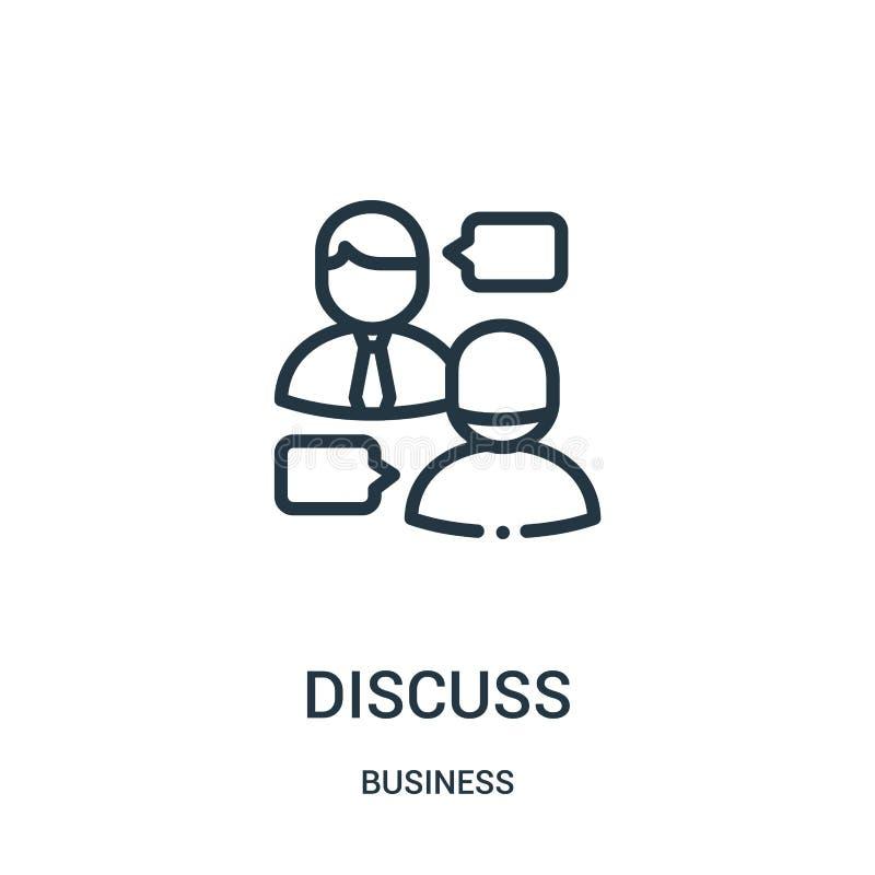 discutez le vecteur d'icône de la collection d'affaires La ligne mince discutent l'illustration de vecteur d'icône d'ensemble Sym illustration stock