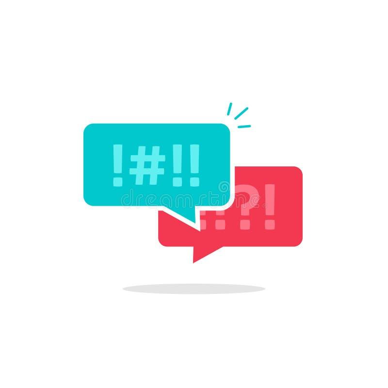 Discutez le vecteur d'icône de bulles de causerie, messages d'argument, dialogue grossier, discutant des couples causant, la paro illustration stock