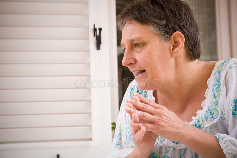 Discutindo a mulher imagens de stock royalty free