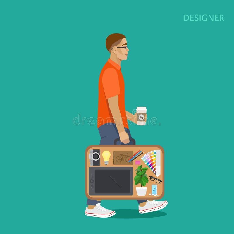 Diseñador con una maleta de cosas stock de ilustración