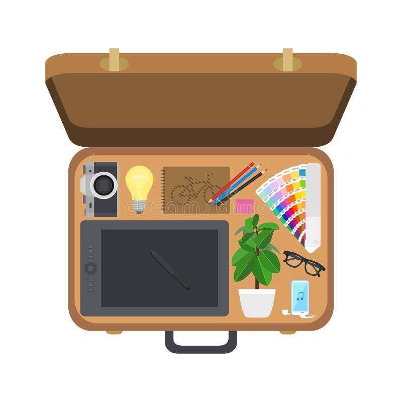 Diseñador de la maleta, ejemplo del vector libre illustration