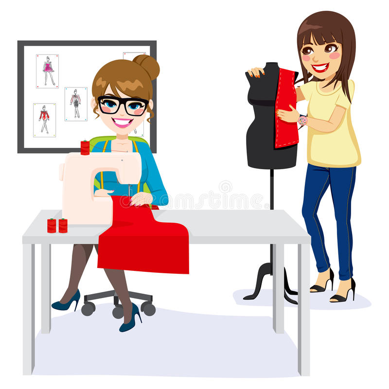 Diseñador de moda And Assistant stock de ilustración