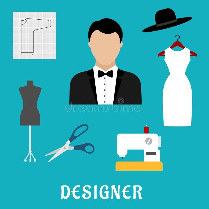 Diseñador de moda con las herramientas y la ropa de costura stock de ilustración