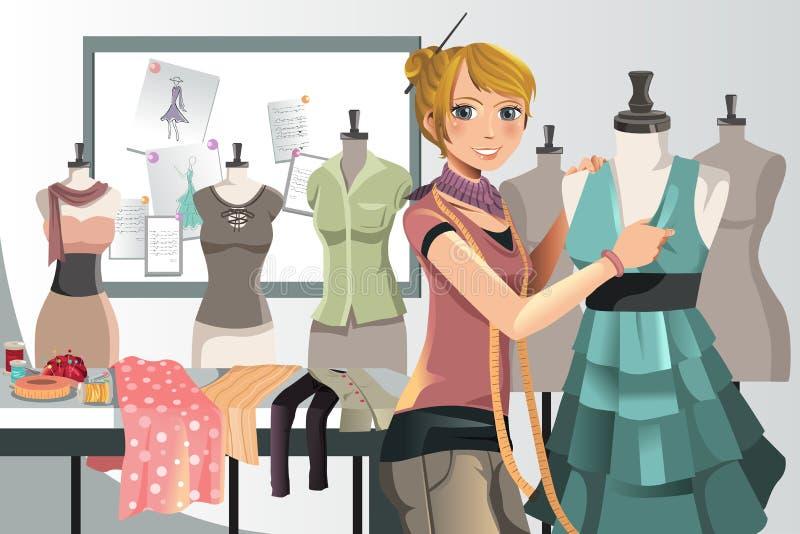 Diseñador de moda en el trabajo stock de ilustración