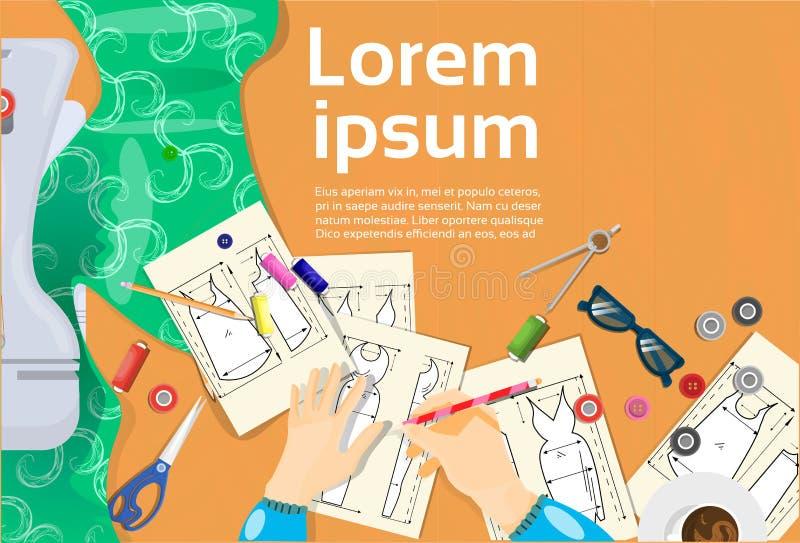 Diseñador de moda Hands Drawing Sketches de la ropa stock de ilustración