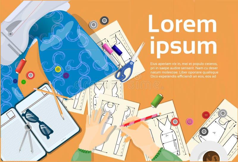 Diseñador de moda Hands Drawing Sketches de la ropa libre illustration