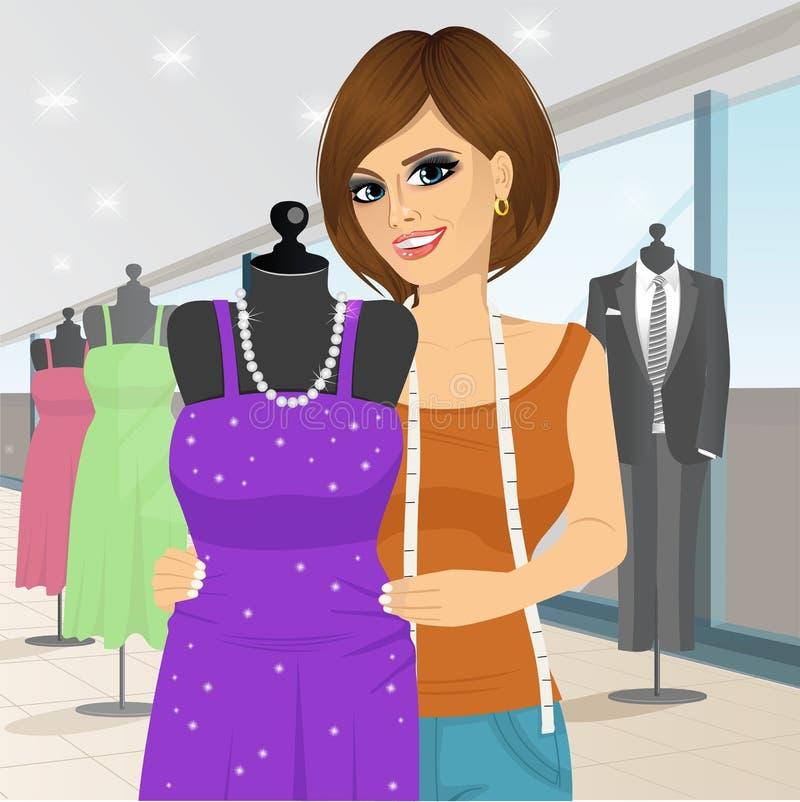Diseñador de moda que cubre un maniquí con un vestido libre illustration