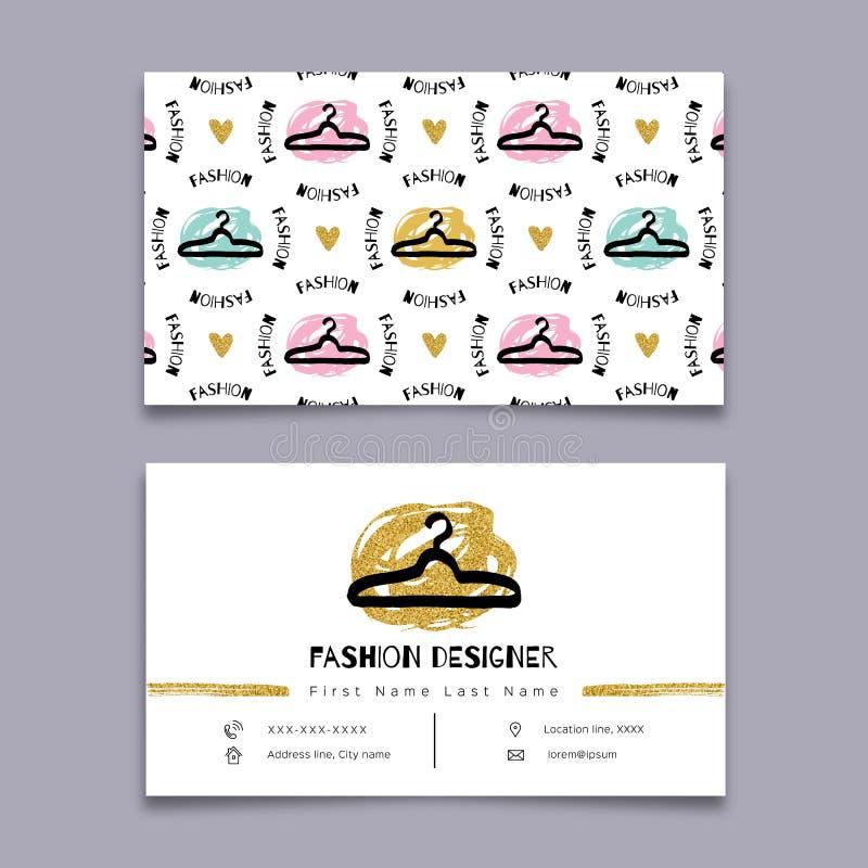 Diseñador de moda, tarjeta de visita del estilista, diseño mínimo del inconformista moderno, arte ilustración del vector