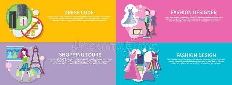 Diseñador de moda, viaje que hace compras, código de vestimenta ilustración del vector